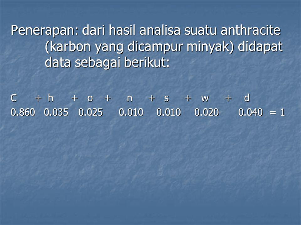 Penerapan: dari hasil analisa suatu anthracite