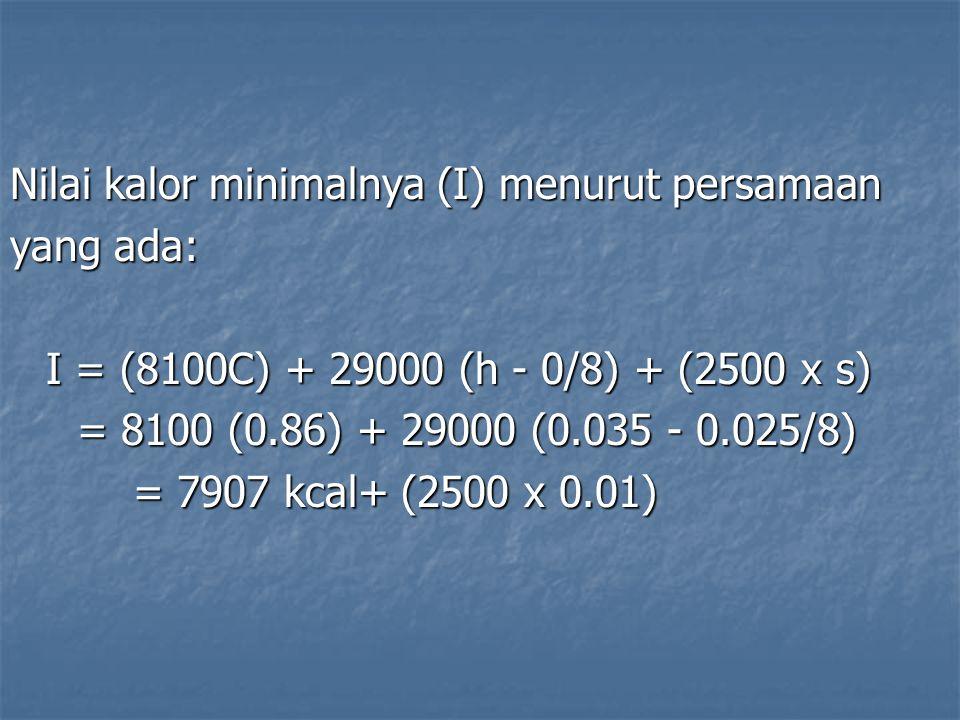 Nilai kalor minimalnya (I) menurut persamaan