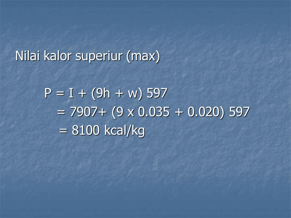 Nilai kalor superiur (max)