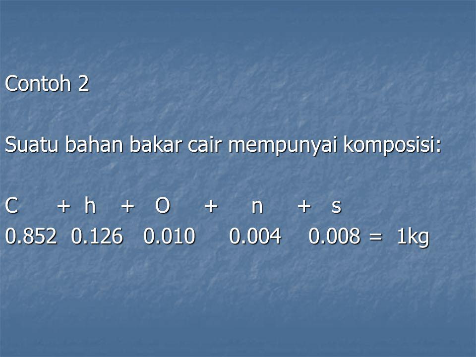 Contoh 2 Suatu bahan bakar cair mempunyai komposisi: C + h + O + n + s.