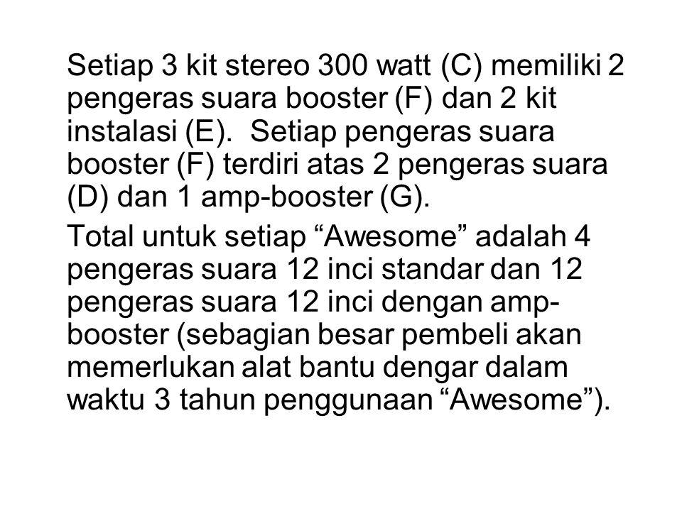 Setiap 3 kit stereo 300 watt (C) memiliki 2 pengeras suara booster (F) dan 2 kit instalasi (E). Setiap pengeras suara booster (F) terdiri atas 2 pengeras suara (D) dan 1 amp-booster (G).