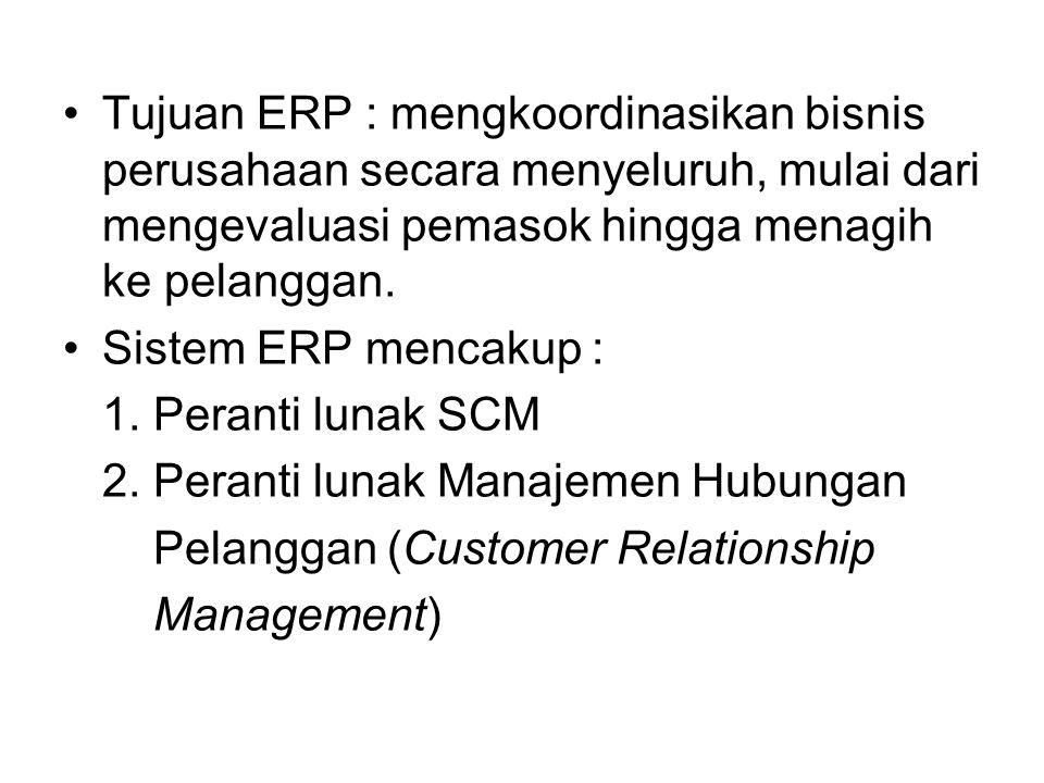 Tujuan ERP : mengkoordinasikan bisnis perusahaan secara menyeluruh, mulai dari mengevaluasi pemasok hingga menagih ke pelanggan.