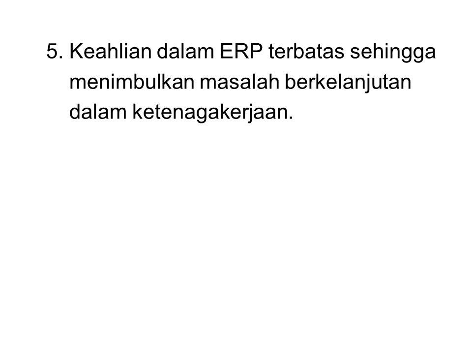5. Keahlian dalam ERP terbatas sehingga