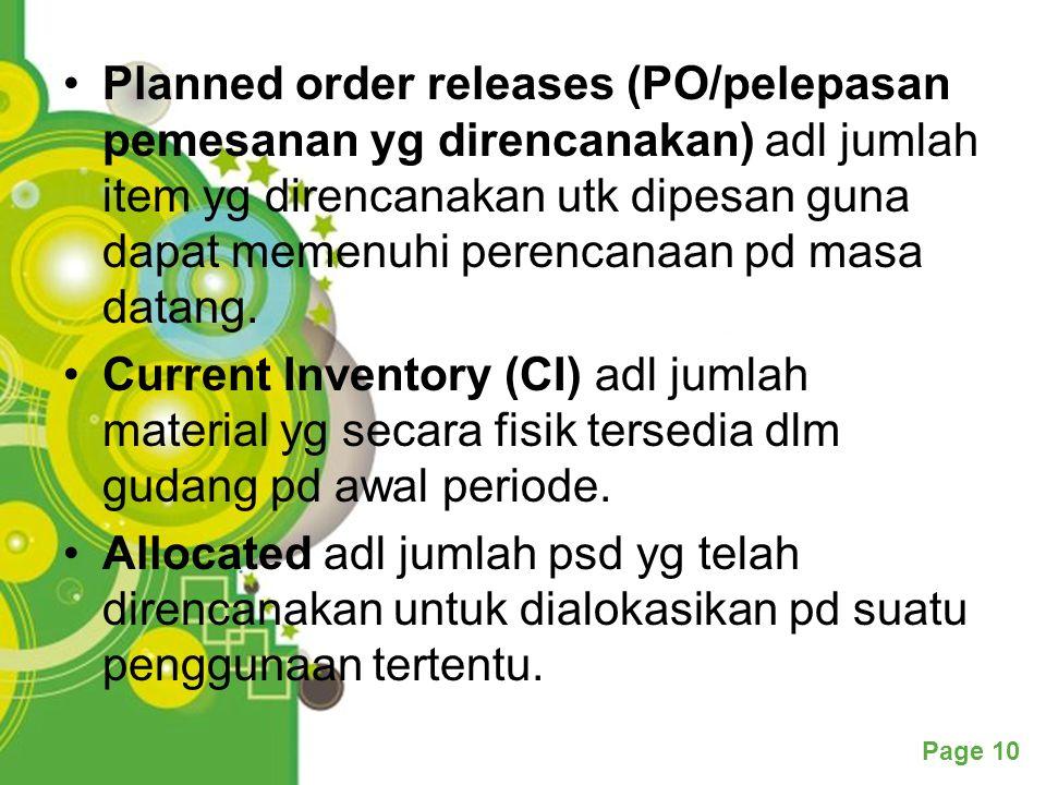 Planned order releases (PO/pelepasan pemesanan yg direncanakan) adl jumlah item yg direncanakan utk dipesan guna dapat memenuhi perencanaan pd masa datang.