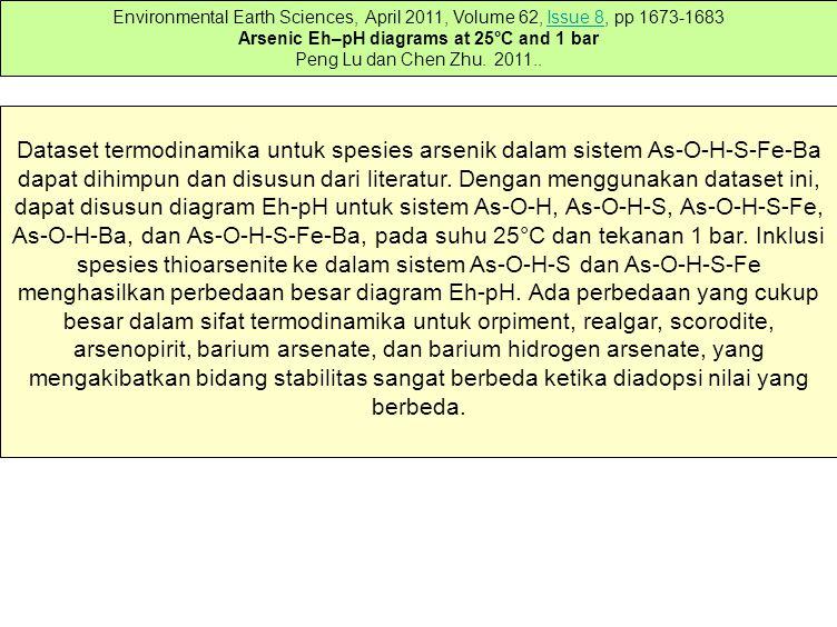Arsenic Eh–pH diagrams at 25°C and 1 bar