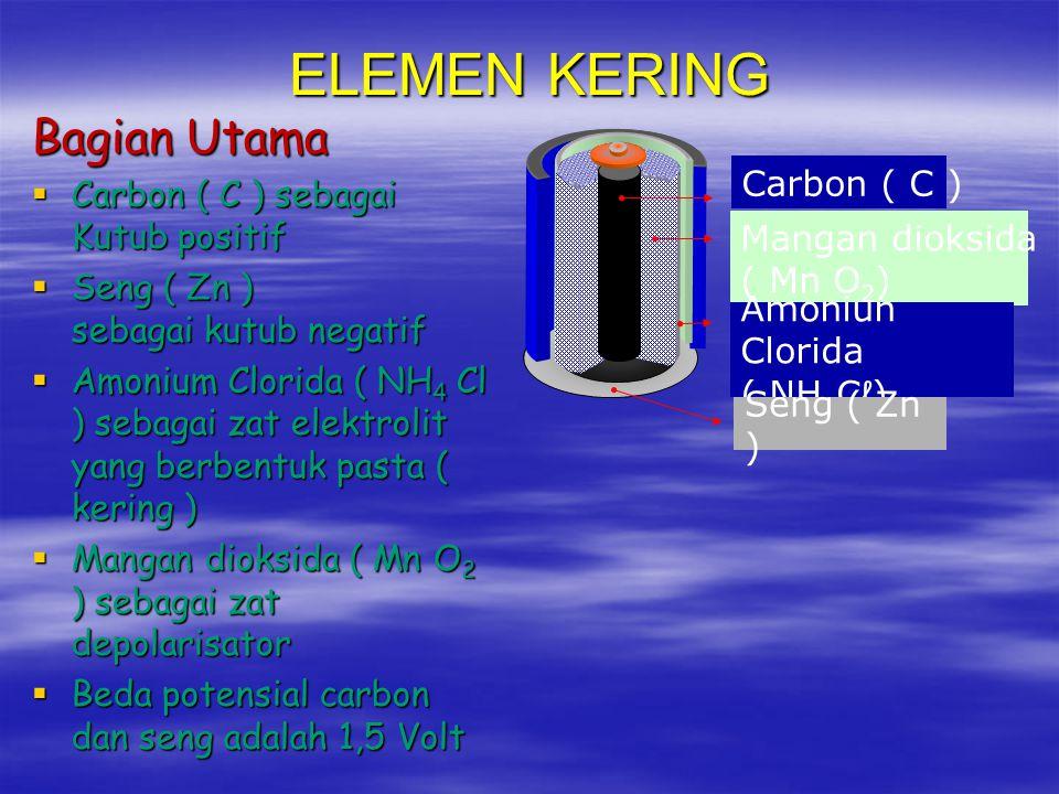 ELEMEN KERING Bagian Utama Carbon ( C ) sebagai Kutub positif