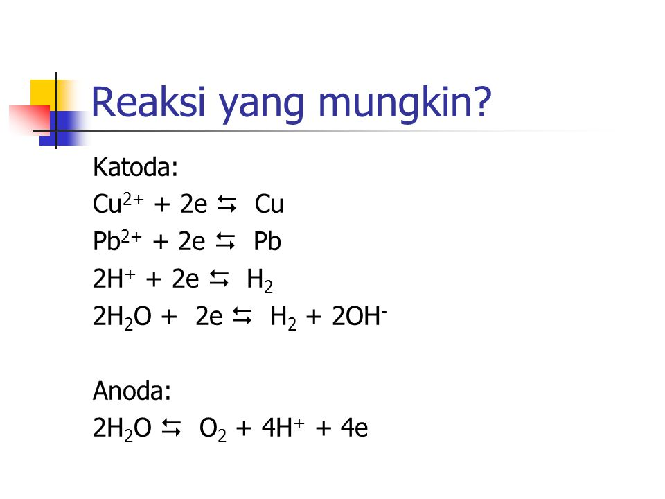 Reaksi yang mungkin Katoda: Cu2+ + 2e  Cu Pb2+ + 2e  Pb