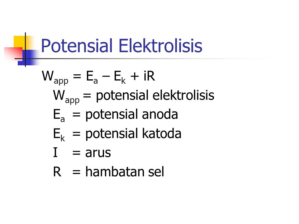 Potensial Elektrolisis