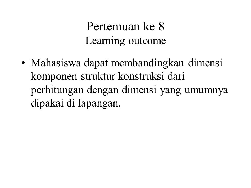 Pertemuan ke 8 Learning outcome