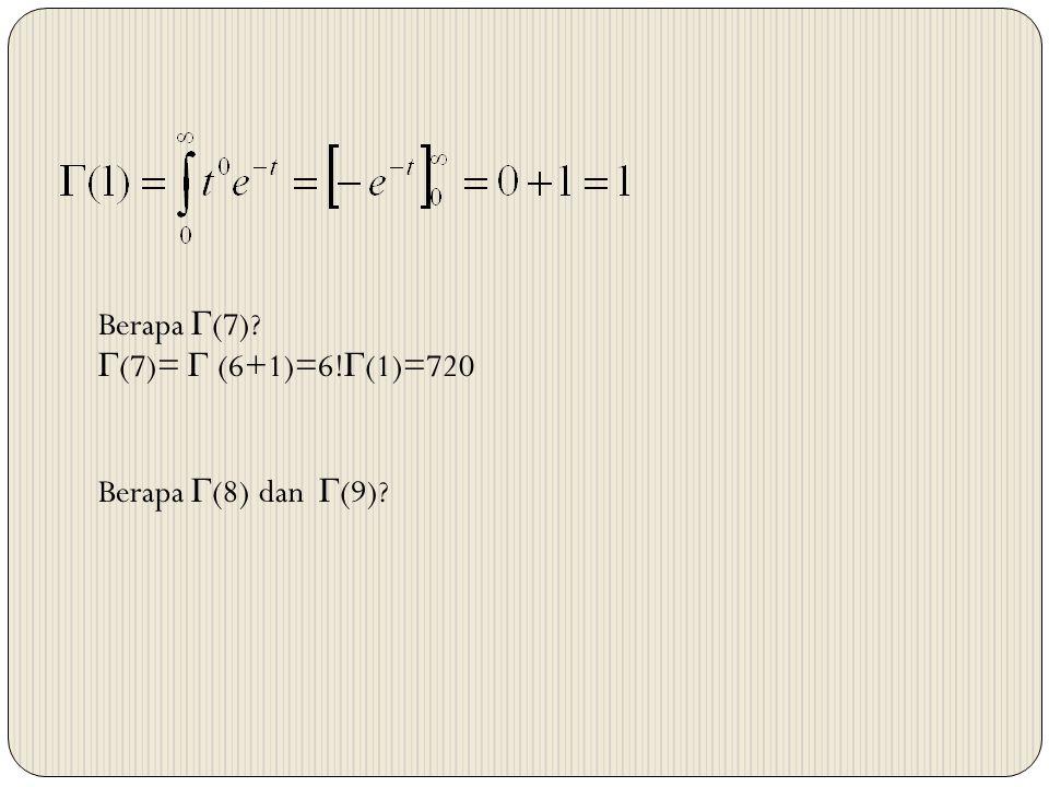 Berapa (7) (7)=  (6+1)=6!(1)=720 Berapa (8) dan (9)