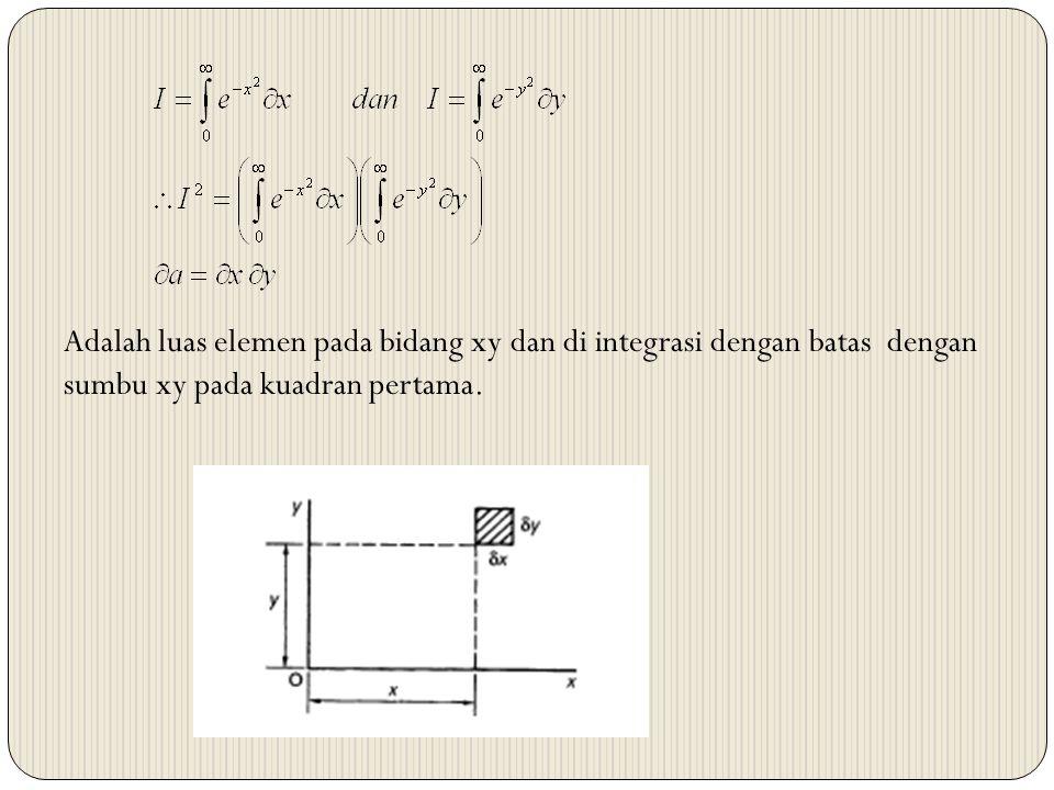 Adalah luas elemen pada bidang xy dan di integrasi dengan batas dengan