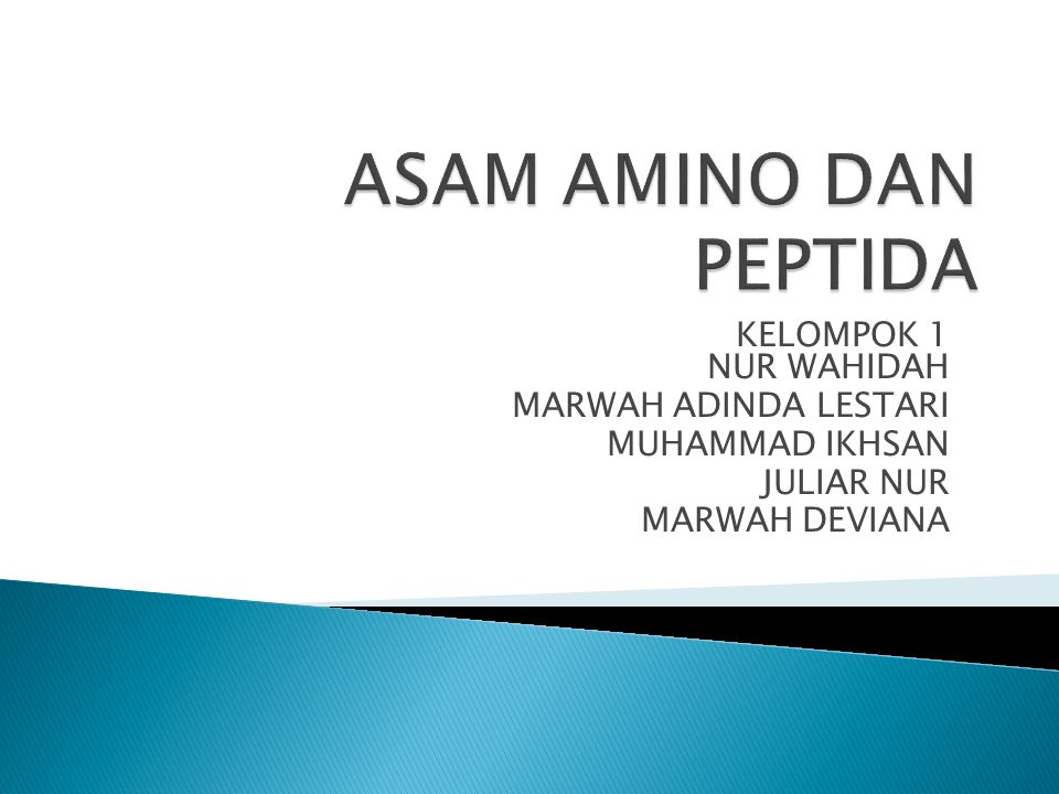 ASAM AMINO DAN PEPTIDA KELOMPOK 1 NUR WAHIDAH MARWAH ADINDA LESTARI