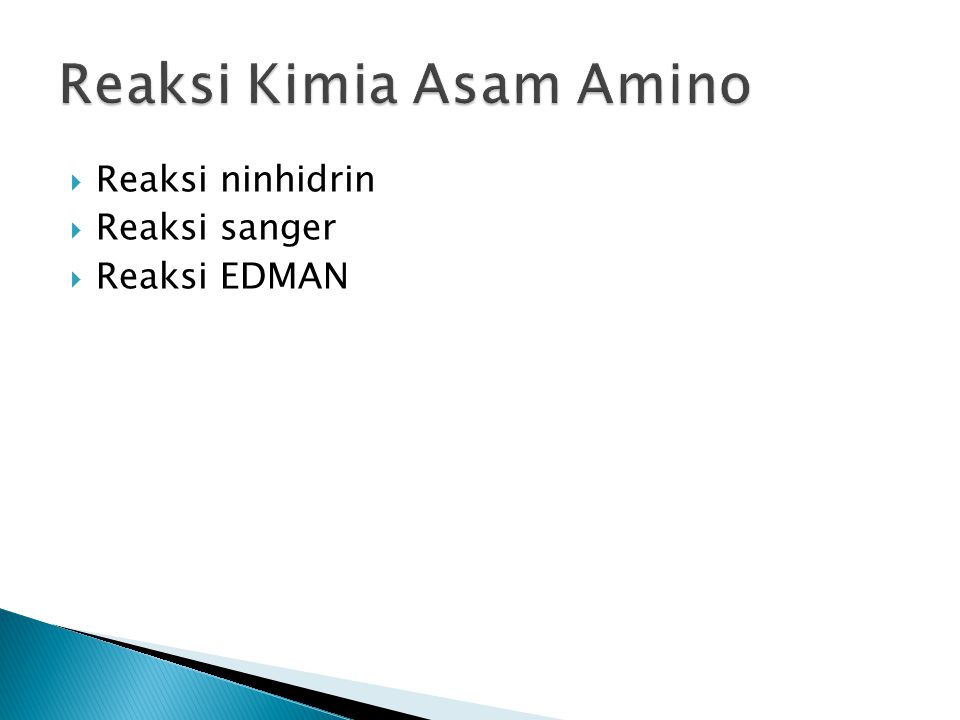 Reaksi Kimia Asam Amino
