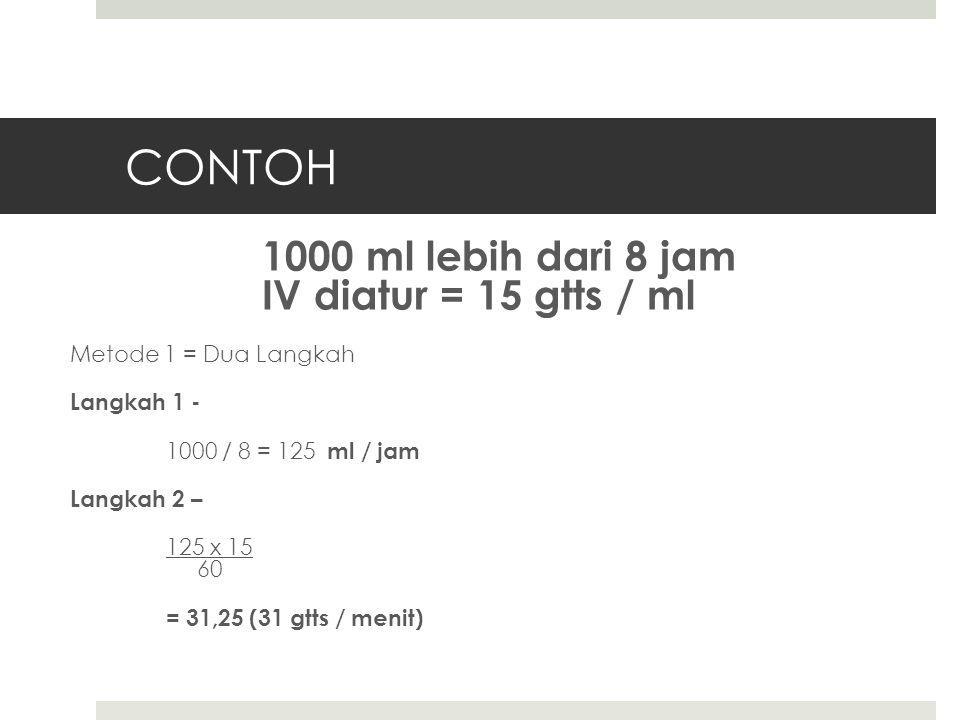 CONTOH 1000 ml lebih dari 8 jam IV diatur = 15 gtts / ml