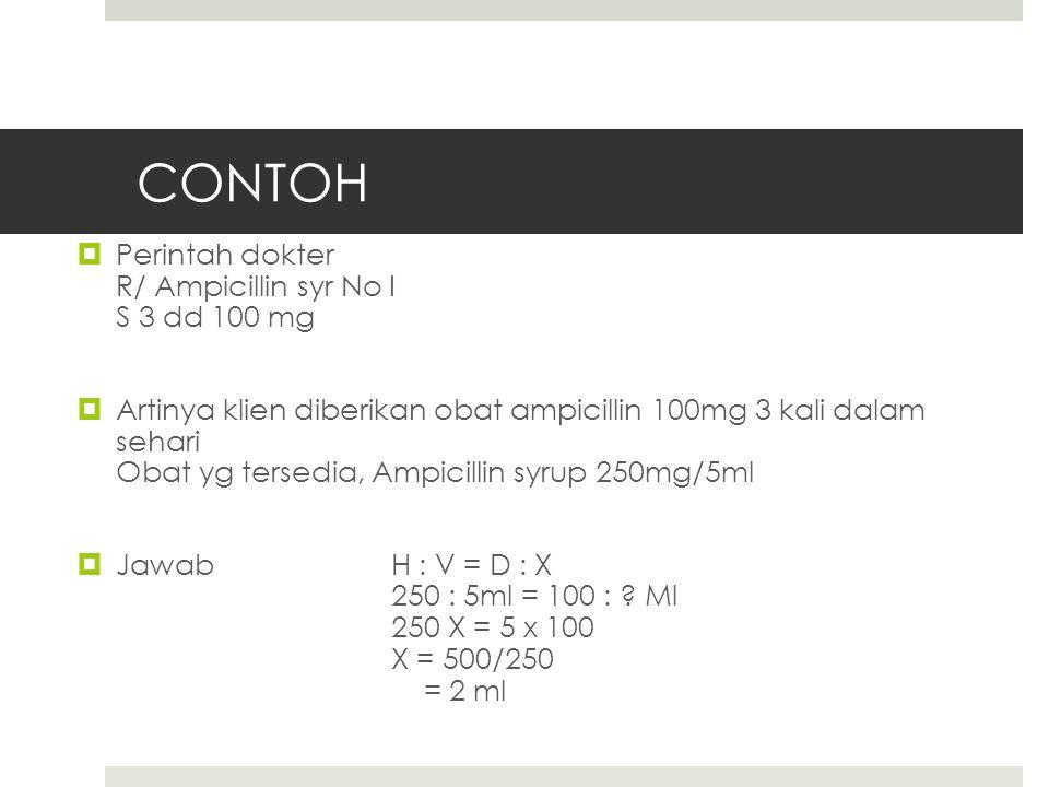 CONTOH Perintah dokter R/ Ampicillin syr No I S 3 dd 100 mg