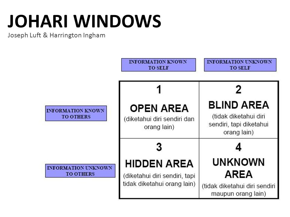 JOHARI WINDOWS Joseph Luft & Harrington Ingham