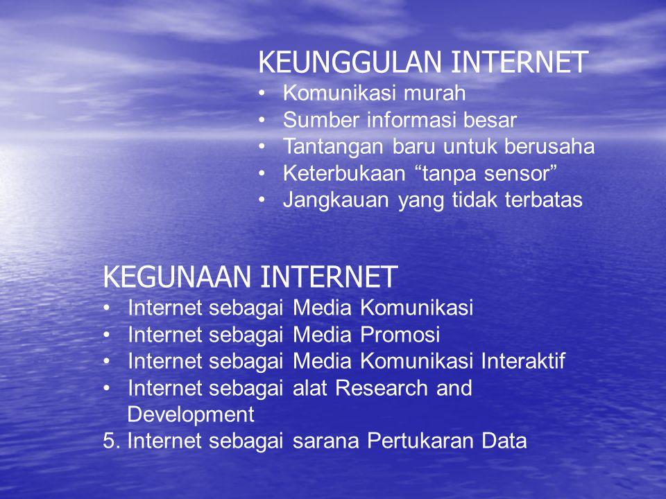 KEUNGGULAN INTERNET KEGUNAAN INTERNET Komunikasi murah