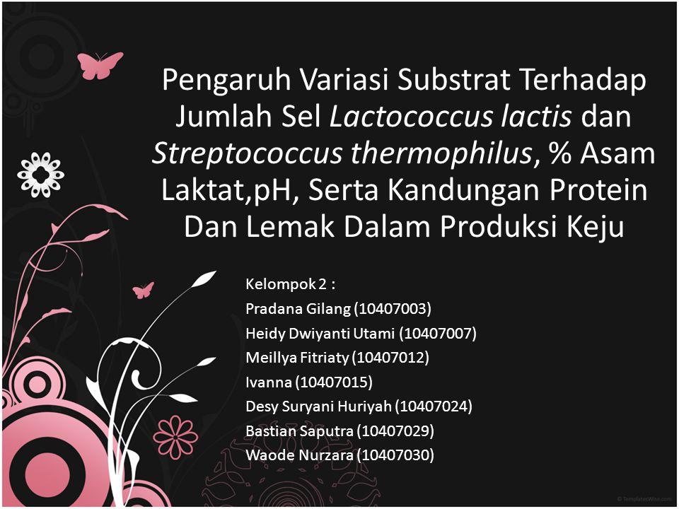 Pengaruh Variasi Substrat Terhadap Jumlah Sel Lactococcus lactis dan Streptococcus thermophilus, % Asam Laktat,pH, Serta Kandungan Protein Dan Lemak Dalam Produksi Keju