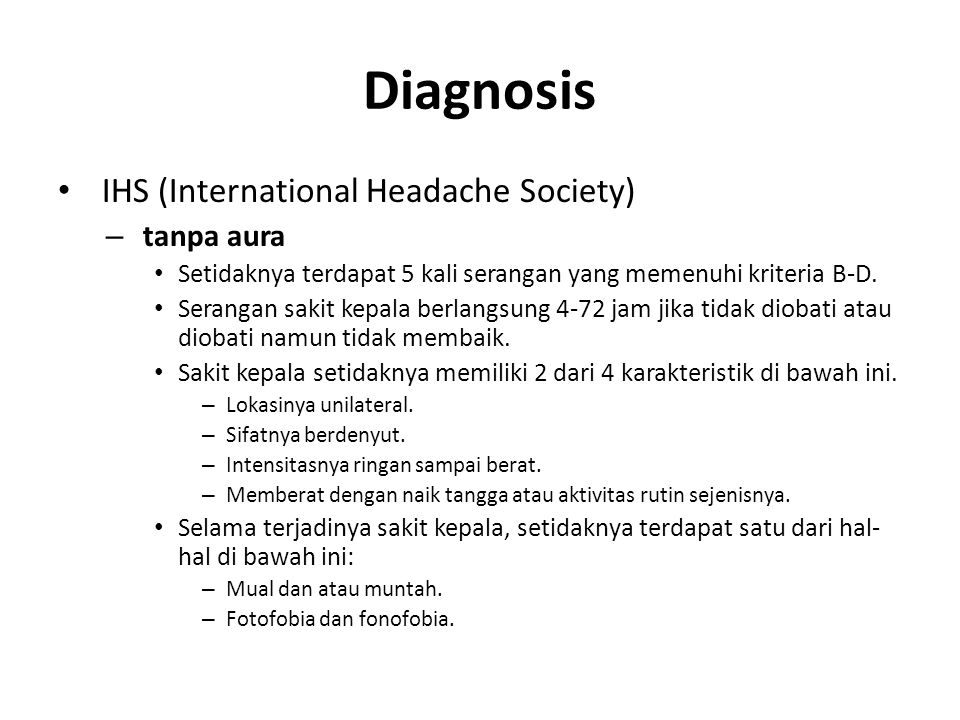 Diagnosis IHS (International Headache Society) tanpa aura
