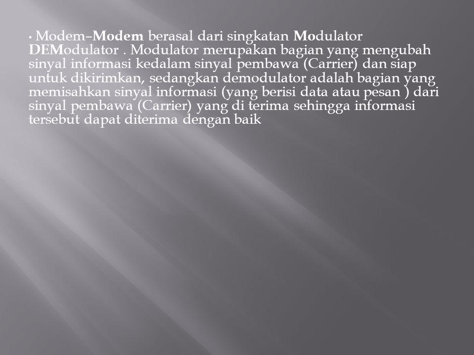 Modem–Modem berasal dari singkatan Modulator DEModulator