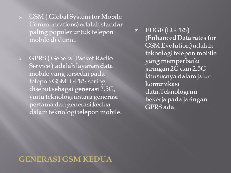 GSM ( Global System for Mobile Communcations) adalah standar paling populer untuk telepon mobile di dunia.