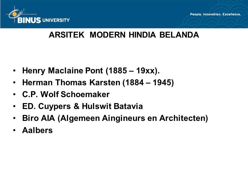 ARSITEK MODERN HINDIA BELANDA