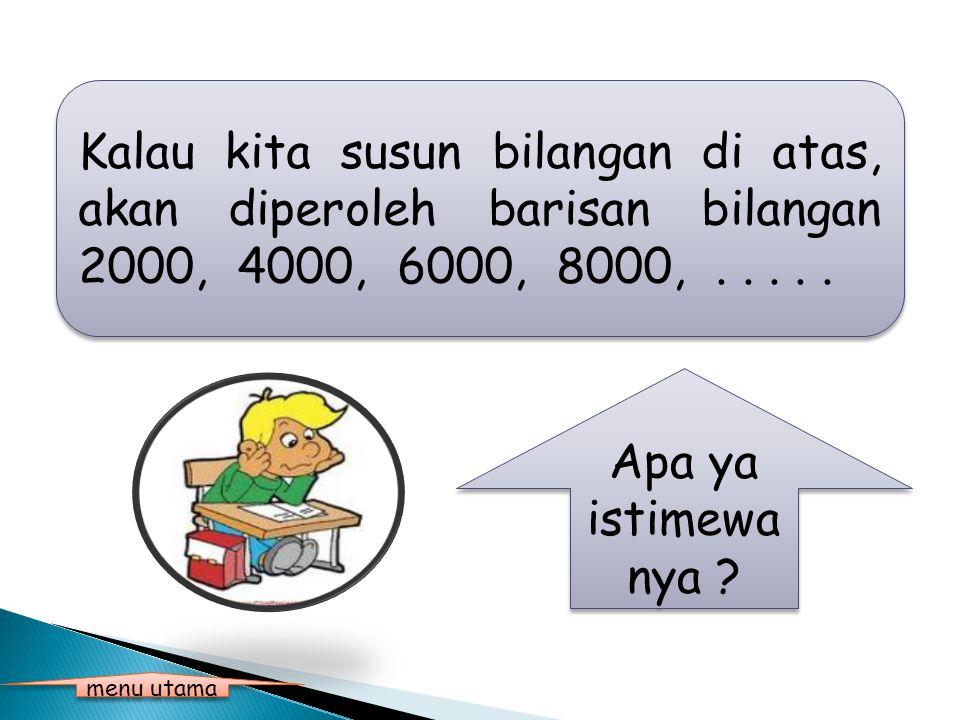 Kalau kita susun bilangan di atas, akan diperoleh barisan bilangan 2000, 4000, 6000, 8000, . . . . .