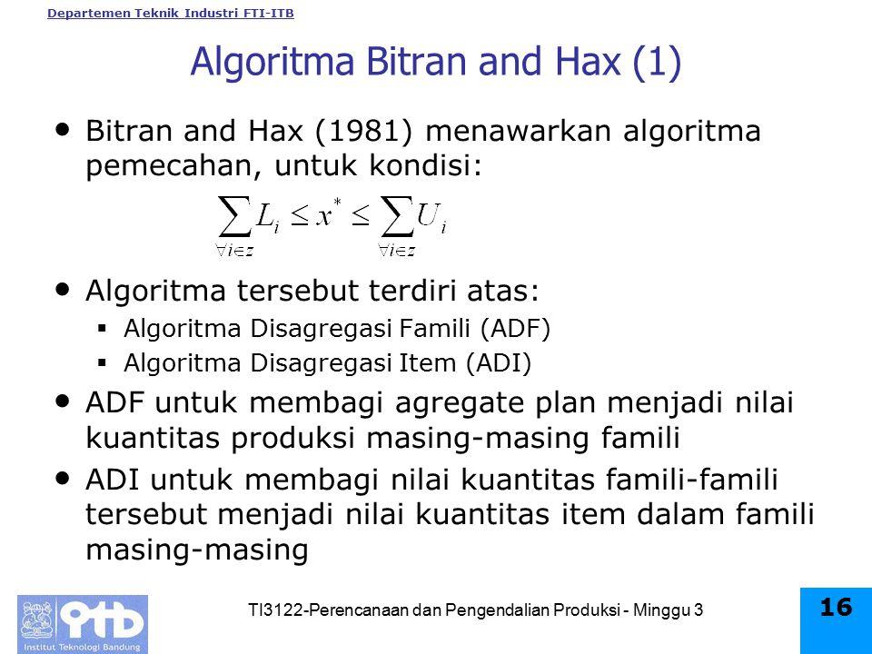 Algoritma Bitran and Hax (1)