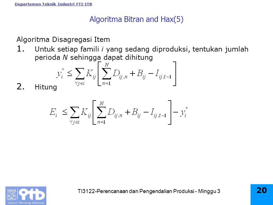 Algoritma Bitran and Hax(5)