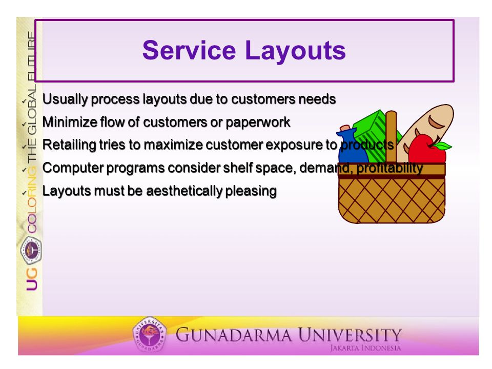 Service Layouts Usually process layouts due to customers needs