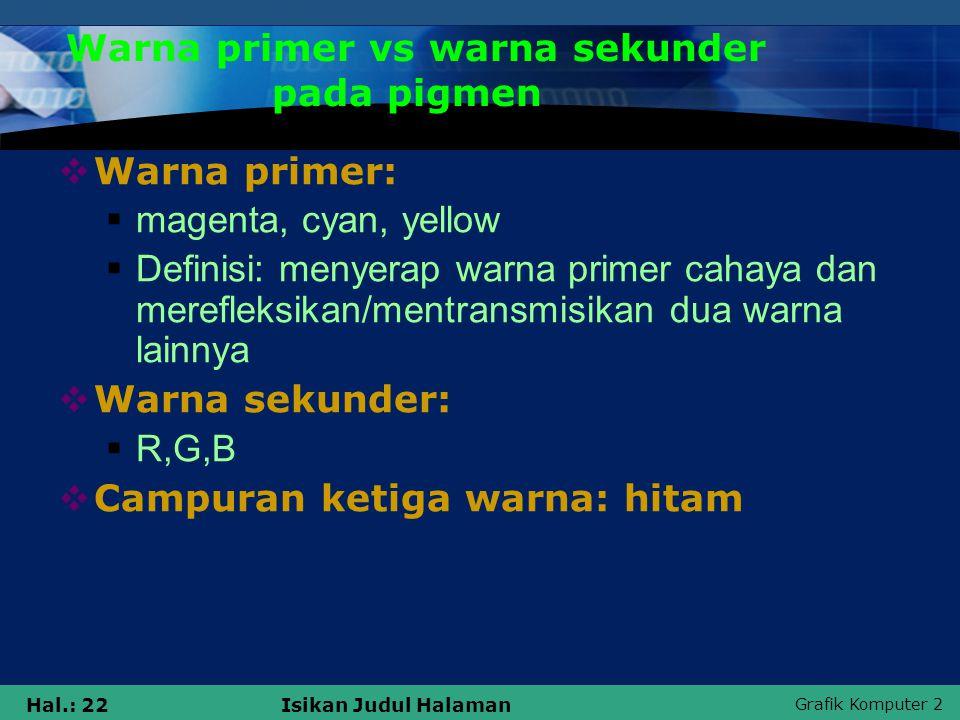 Warna primer vs warna sekunder pada pigmen