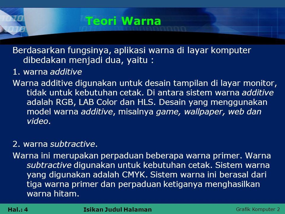 Teori Warna Berdasarkan fungsinya, aplikasi warna di layar komputer dibedakan menjadi dua, yaitu : 1. warna additive.