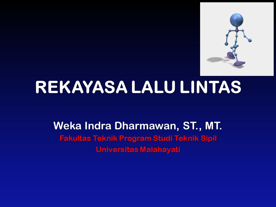 REKAYASA LALU LINTAS Weka Indra Dharmawan, ST., MT.