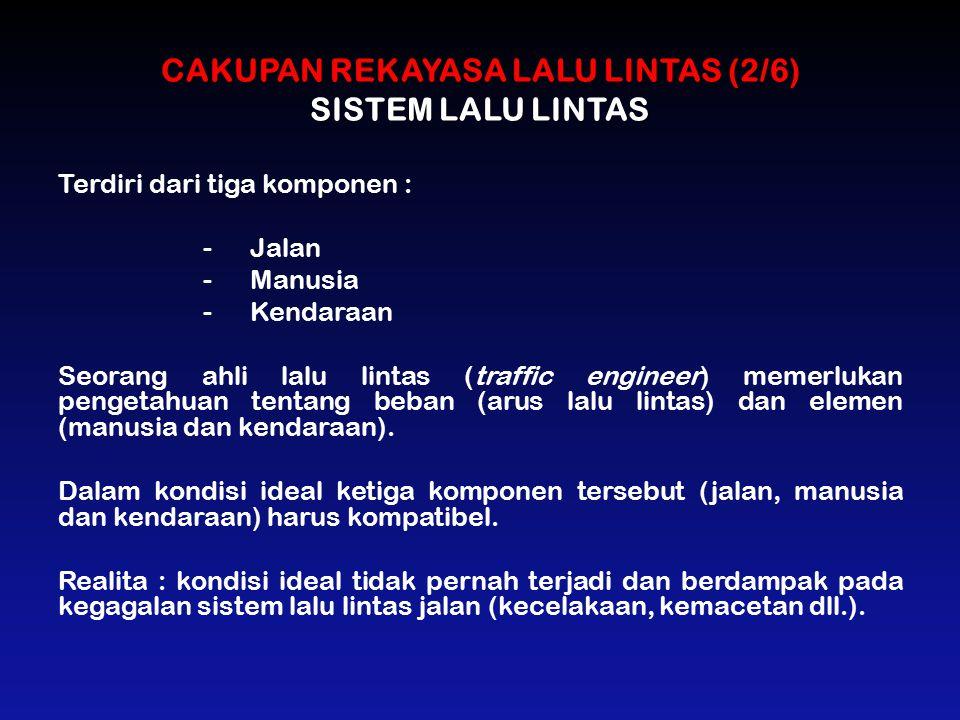 CAKUPAN REKAYASA LALU LINTAS (2/6) SISTEM LALU LINTAS