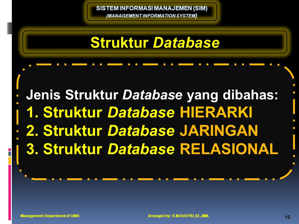 Struktur Database HIERARKI Struktur Database JARINGAN