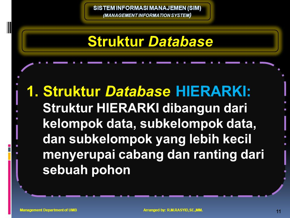 1. Struktur Database HIERARKI: