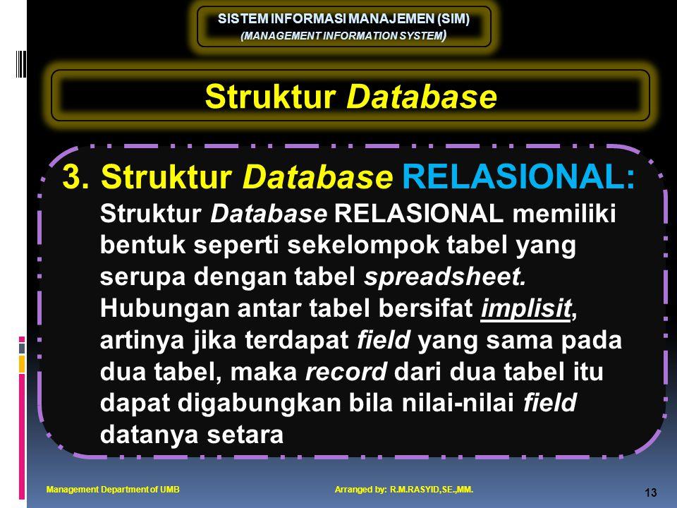 3. Struktur Database RELASIONAL: