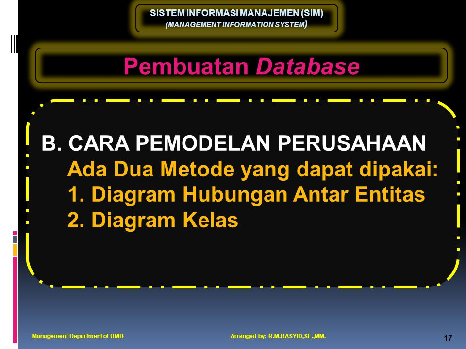 Pembuatan Database B. CARA PEMODELAN PERUSAHAAN