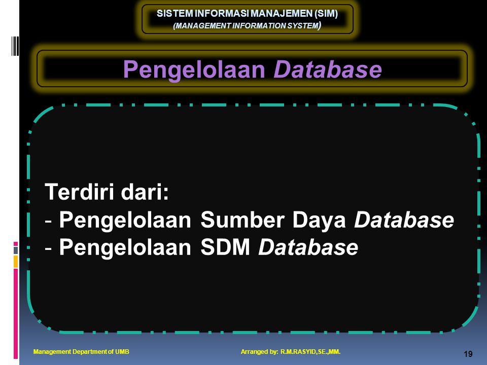Pengelolaan Database Terdiri dari: Pengelolaan Sumber Daya Database