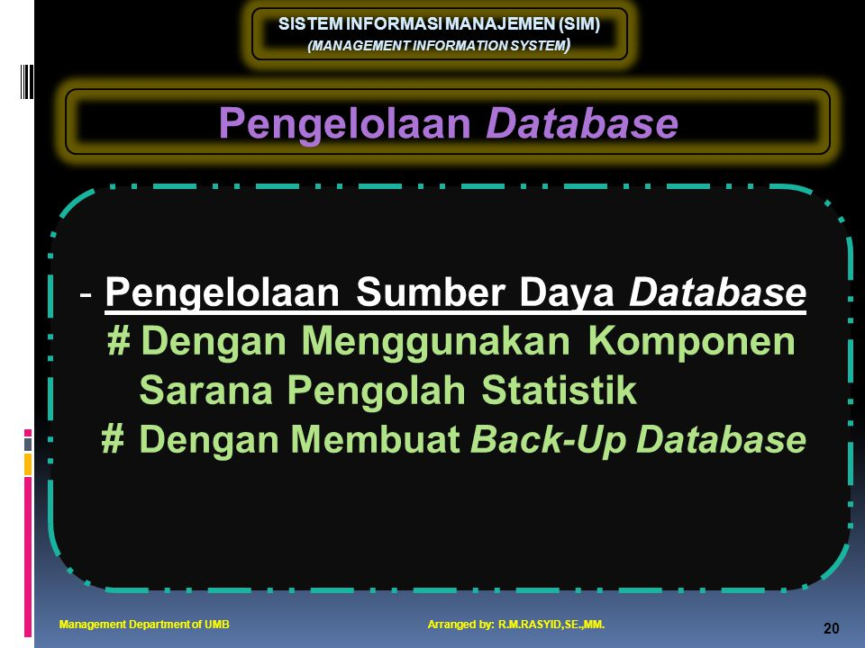 Pengelolaan Database Pengelolaan Sumber Daya Database