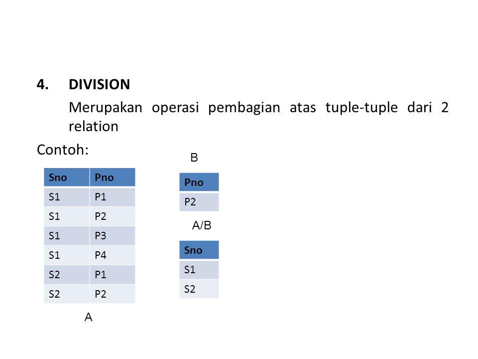 Merupakan operasi pembagian atas tuple-tuple dari 2 relation Contoh: