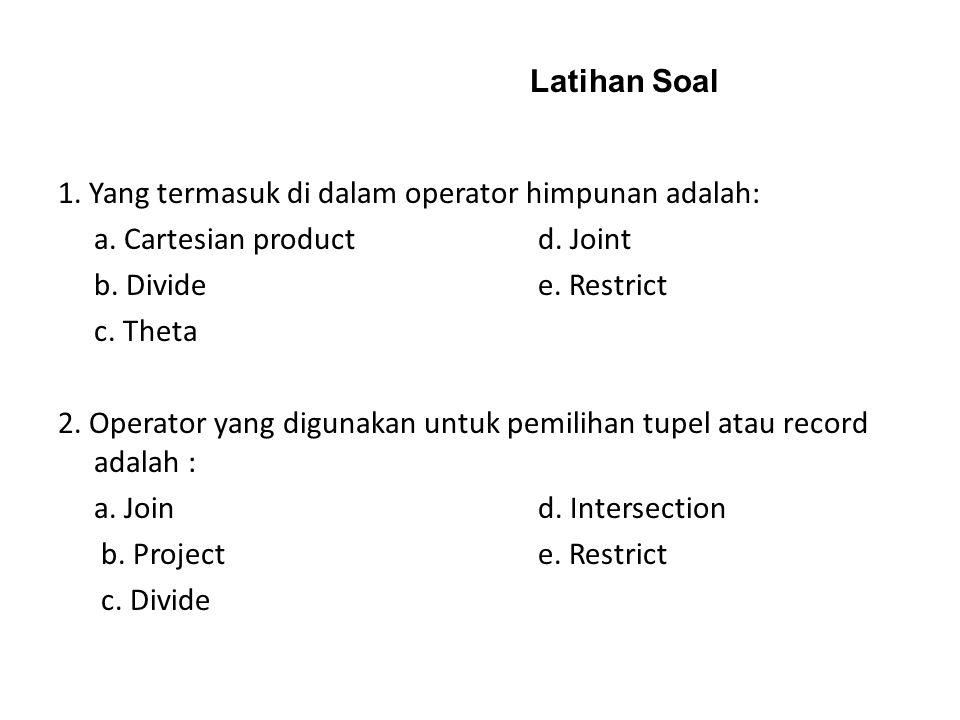 Latihan Soal 1. Yang termasuk di dalam operator himpunan adalah: a. Cartesian product d. Joint. b. Divide e. Restrict.