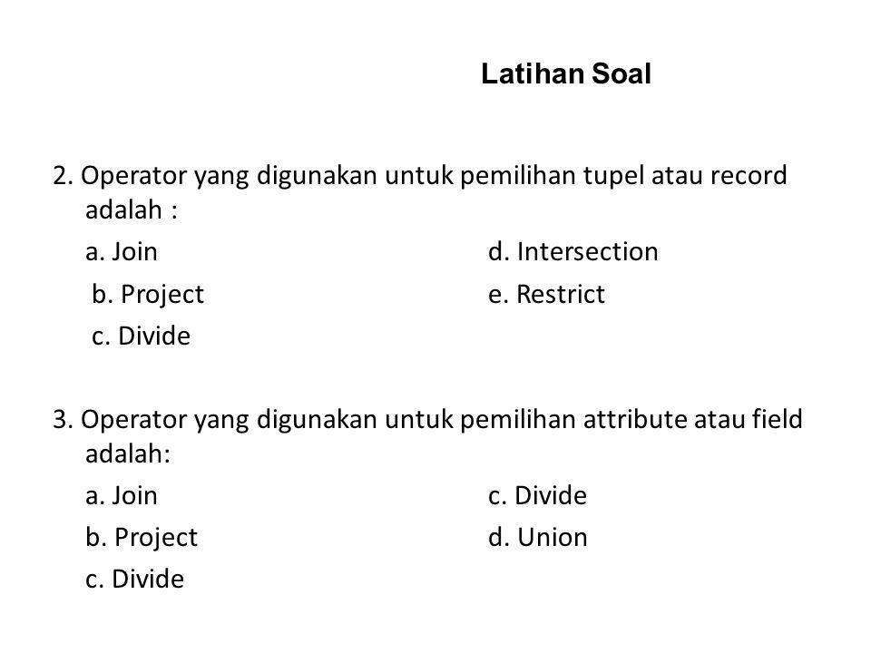 Latihan Soal 2. Operator yang digunakan untuk pemilihan tupel atau record adalah : a. Join d. Intersection.
