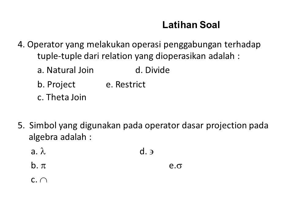 Latihan Soal 4. Operator yang melakukan operasi penggabungan terhadap tuple-tuple dari relation yang dioperasikan adalah :