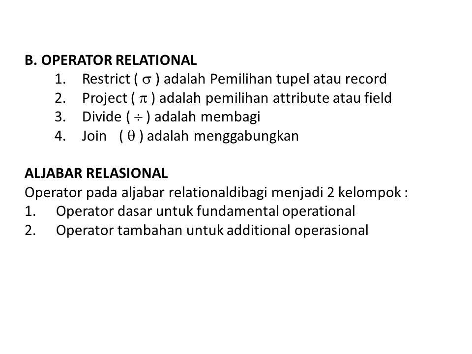 B. OPERATOR RELATIONAL Restrict (  ) adalah Pemilihan tupel atau record. Project (  ) adalah pemilihan attribute atau field.