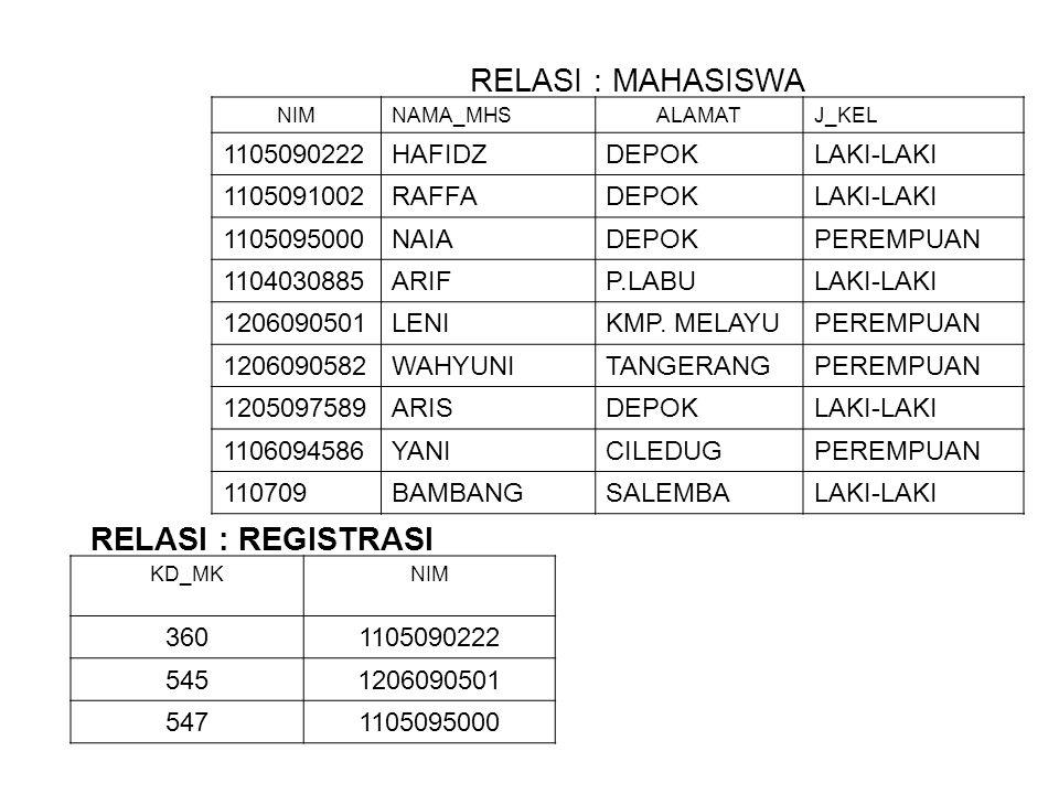 RELASI : MAHASISWA RELASI : REGISTRASI 1105090222 HAFIDZ DEPOK