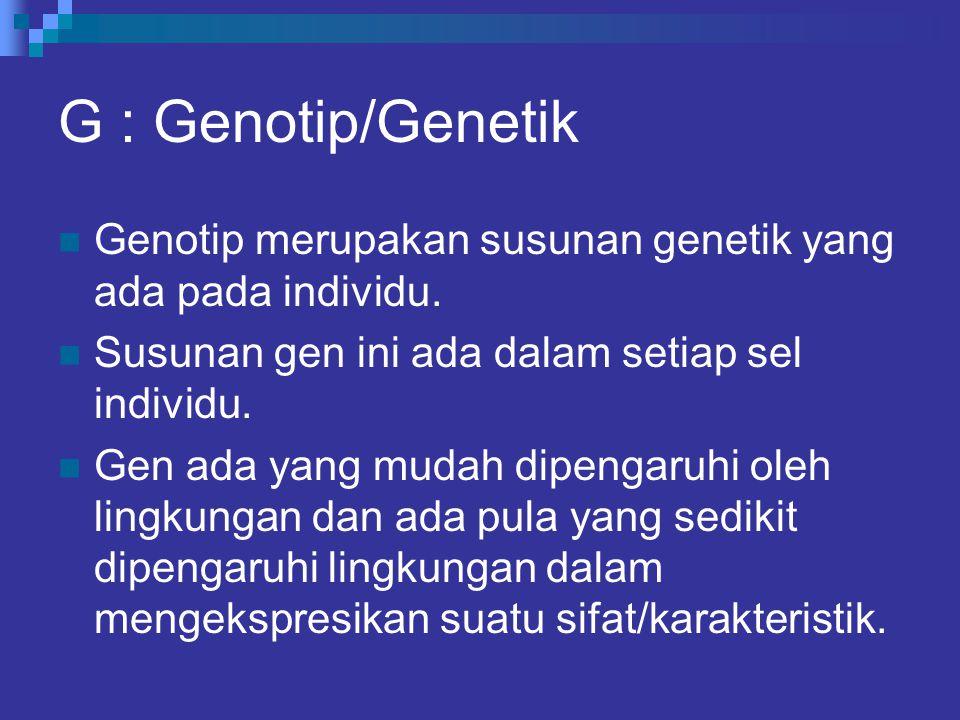 G : Genotip/Genetik Genotip merupakan susunan genetik yang ada pada individu. Susunan gen ini ada dalam setiap sel individu.