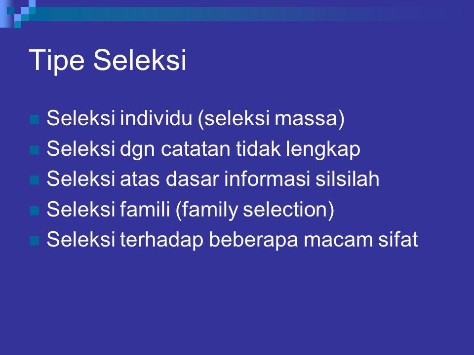 Tipe Seleksi Seleksi individu (seleksi massa)