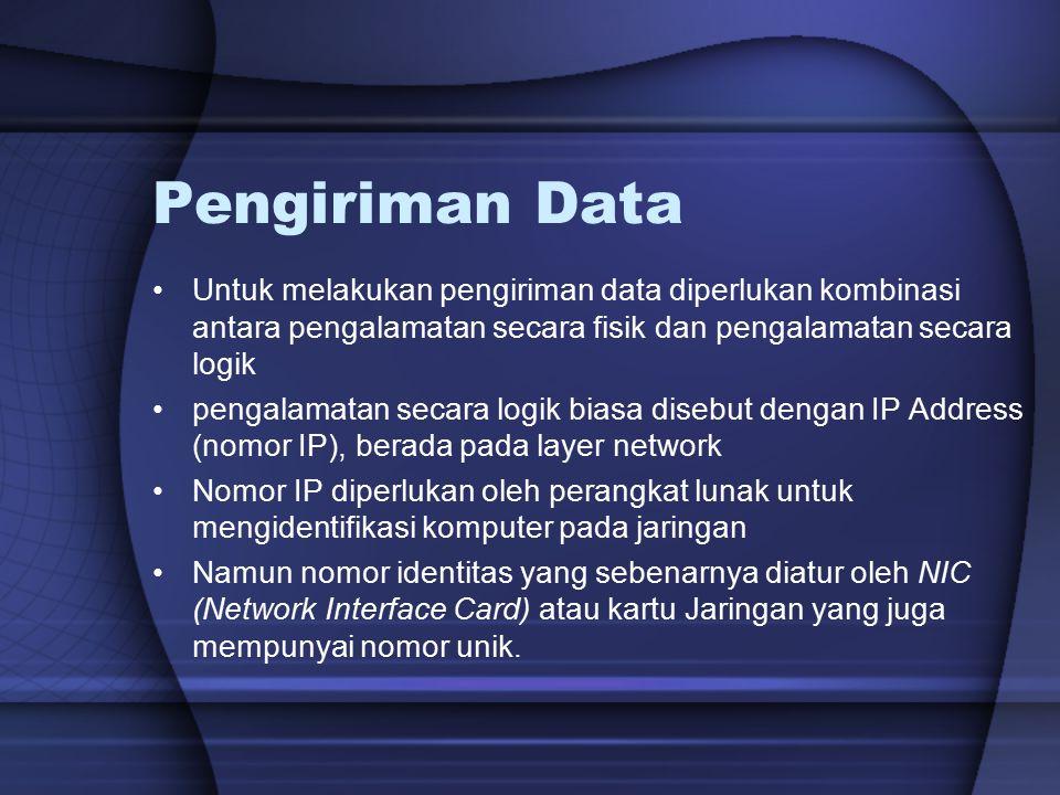 Pengiriman Data Untuk melakukan pengiriman data diperlukan kombinasi antara pengalamatan secara fisik dan pengalamatan secara logik.