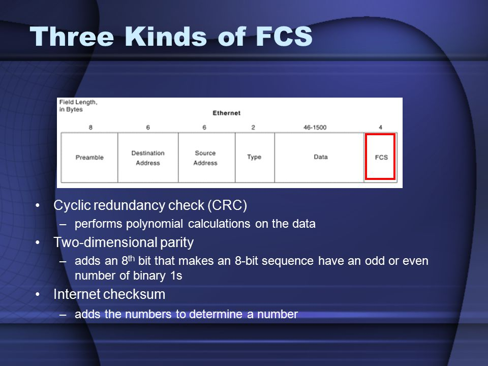 Three Kinds of FCS Cyclic redundancy check (CRC)